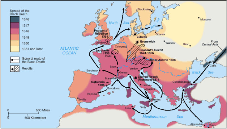 Major places affected by plague medieval history on black death gumiabroncs Gallery